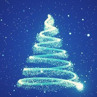 Árvore crescente de ano novo com flocos de neve caindo e estrelas ilustração 3d