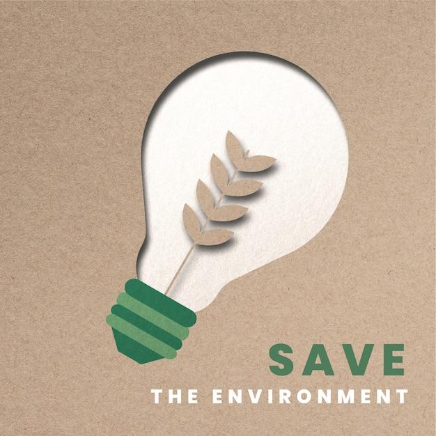 Árvore da campanha de energia sustentável, lâmpada, papel, artesanato, mídia, remix