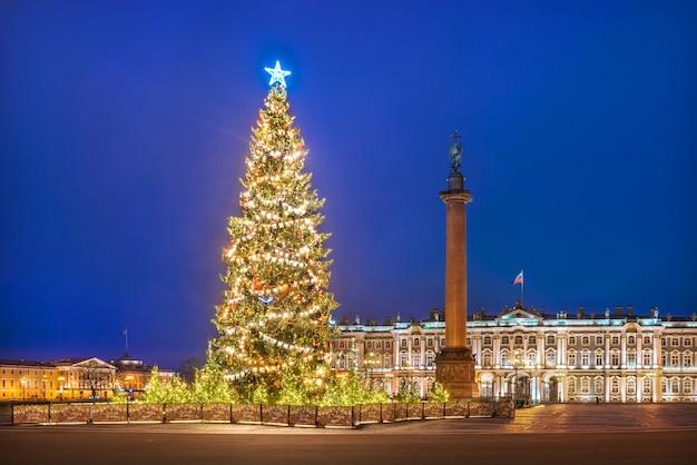 Árvore de ano novo na praça do palácio em são petersburgo