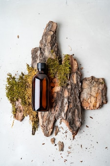 Árvore de casca natural da beleza, musgos minúsculos e grama de produtos cosméticos orgânicos na garrafa marrom de vidro. lay flat,