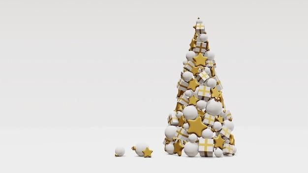 Árvore de chrtistams feita de presentes, bolas e estrelas