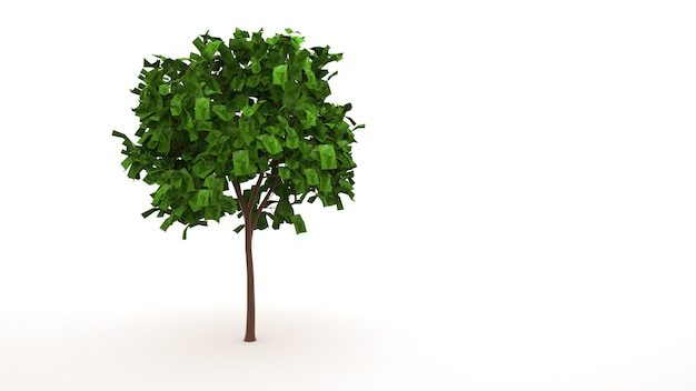 Árvore de folha caduca verde, elemento isolado no fundo branco. árvore com folhas, design gráfico, ilustração 3d.
