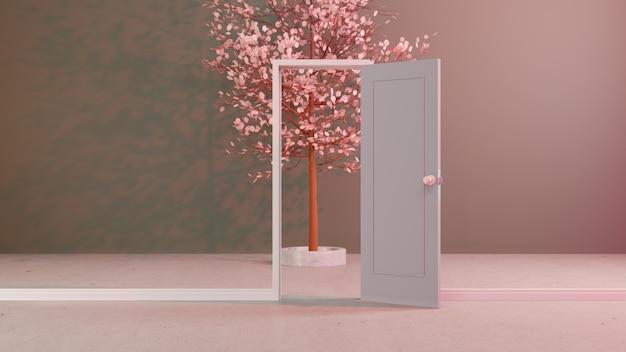 Árvore de iluminação 3d abstrata da arte da porta da parede com iluminação rosa claro