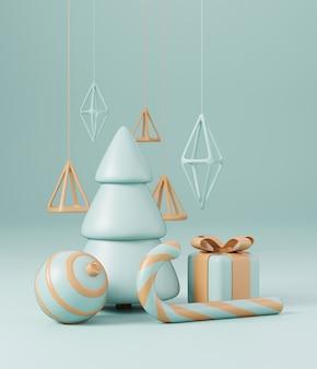 Árvore de natal 3d com caixa de presente vermelha e fundo verde bola, cartaz de natal, banner da web. 3d render ilustração estilo minimalista conceito de natal e ano novo
