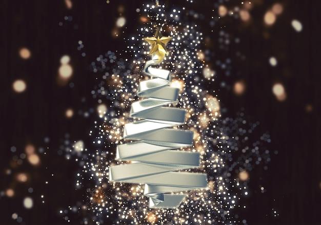 Árvore de natal 3d com efeito de luzes de bokeh brilho