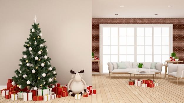 Árvore de natal, boneca de rena e caixa de presente na sala de estar