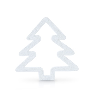 Árvore de natal branco isolada em fundo branco