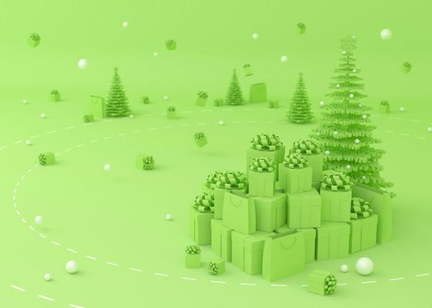 Árvore de natal, caixa de presente e sacolas de compras