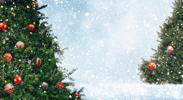 Árvore de natal com decoração, luz, flocos de neve