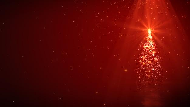 Árvore de natal com luzes mágicas e brilhar no vermelho