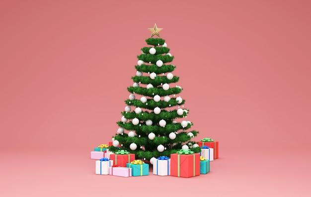 Árvore de natal com pilha de caixas de presente no fundo rosa do estúdio