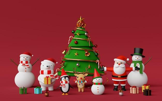 Árvore de natal com um personagem de natal fofo em fundo vermelho