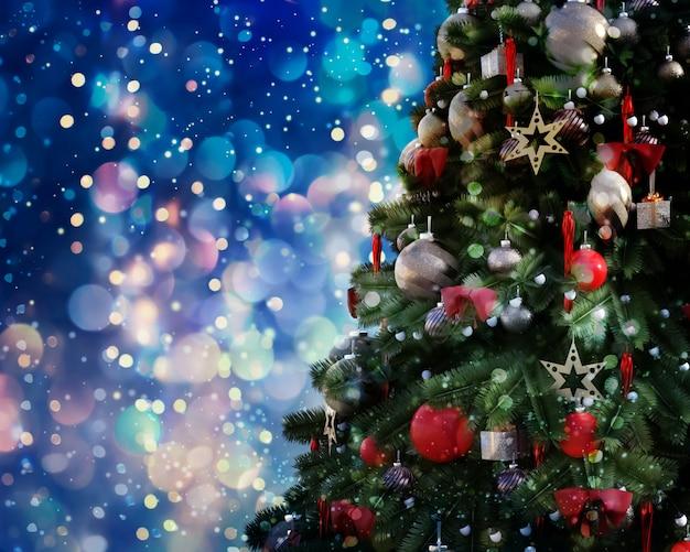 Árvore de natal contra um fundo luminoso brilhante