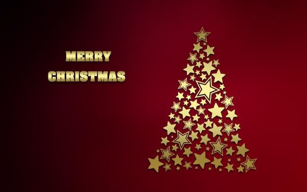 Árvore de natal de estrelas douradas sobre fundo vermelho