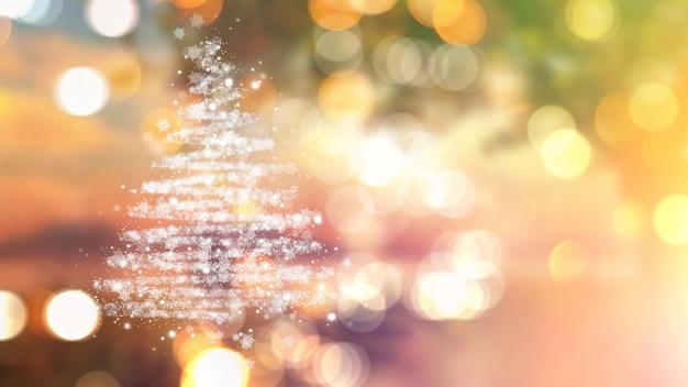 Árvore de natal de estrelas em luzes de bokeh