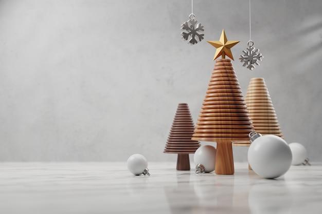 Árvore de natal de madeira na mesa de mármore branco de madeira, conceito de feliz natal e feliz ano novo