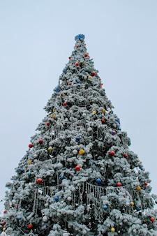 Árvore de natal decorada coberta de geada em um parque da cidade