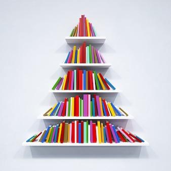 Árvore de natal dos livros na estante em renderização 3d