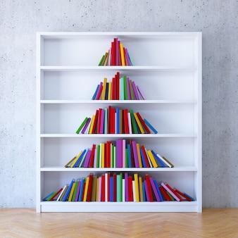 Árvore de natal dos livros na estante, renderização em 3d