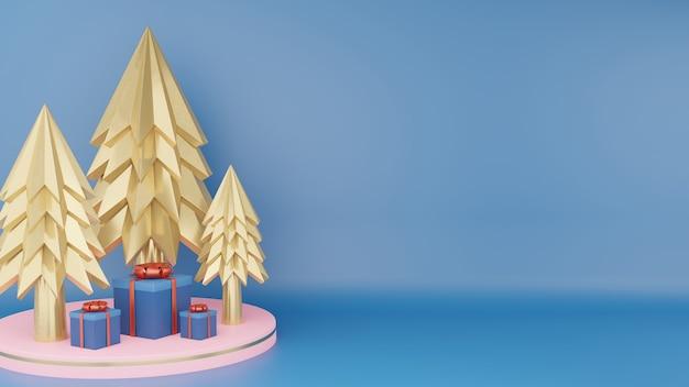 Árvore de natal dourada e caixa de presente azul clássica fechada com fita vermelha no pódio do círculo rosa