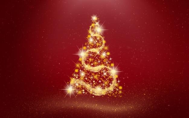 Árvore de natal dourada em fundo vermelho