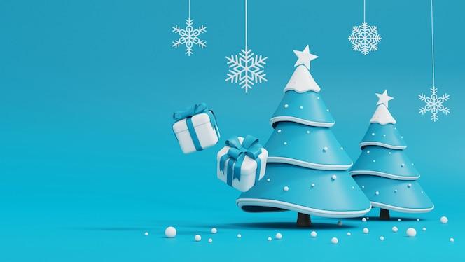 Árvore de natal e caixa de presente em azul