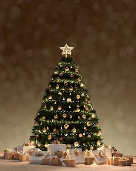 Árvore de natal e caixas de presente de decoração embaixo com luzes do bokeh, queda de neve à noite