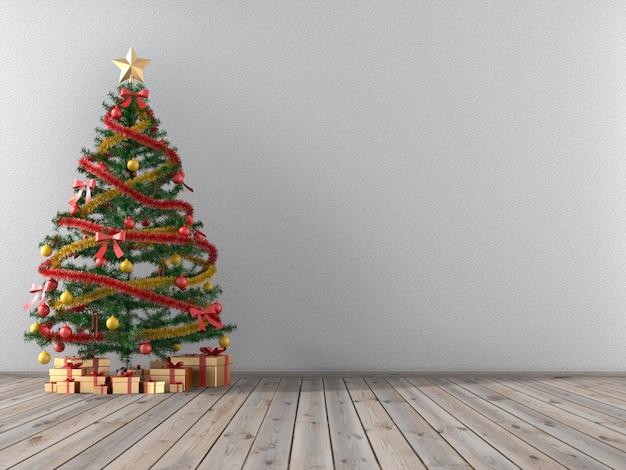Árvore de natal e caixas de presentes douradas em uma sala vazia.