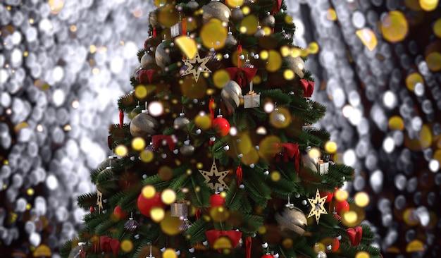 Árvore de natal em um fundo brilhante e luminoso