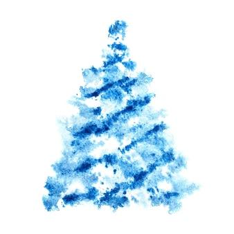 Árvore de natal esculpida azul isolada no fundo branco - ilustração raster