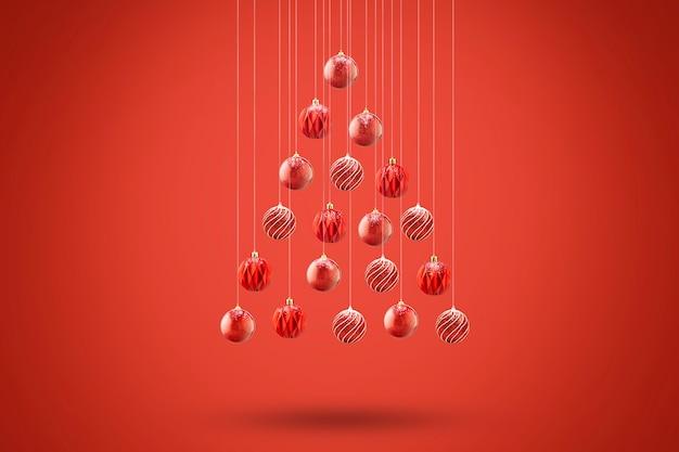 Árvore de natal feita de bolas de natal, cartão minimalista com fundo vermelho.