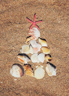 Árvore de natal feita de conchas na areia