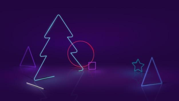 Árvore de natal moderna e formas abstratas em neon ou efeito led