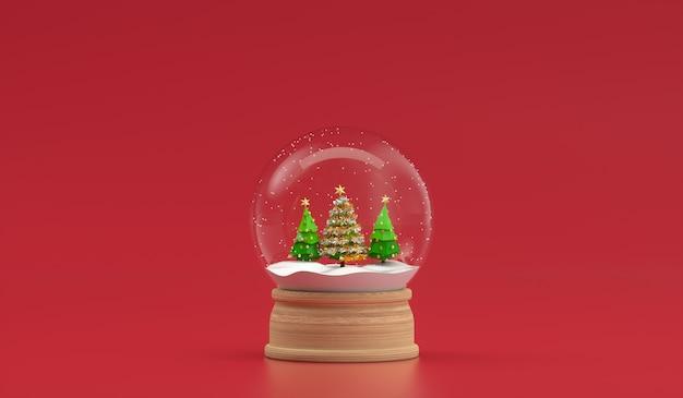 Árvore de natal na decoração de bola de neve isolada. renderização 3d