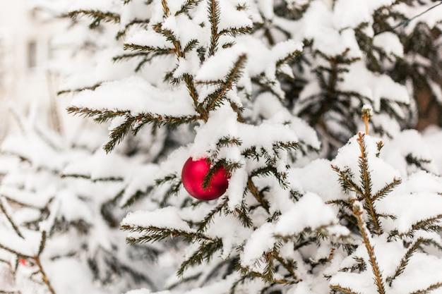 Árvore de natal na neve e bola vermelha de natal, neve