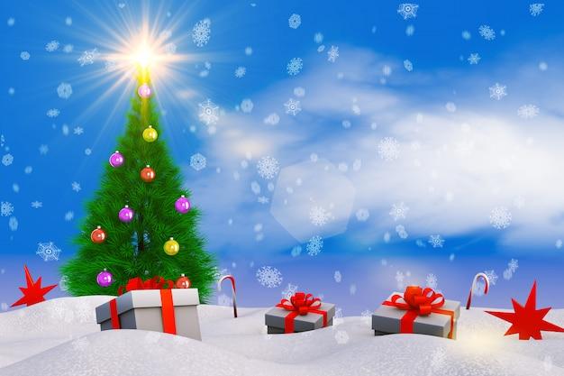 Árvore de natal na neve e presente. 3d render