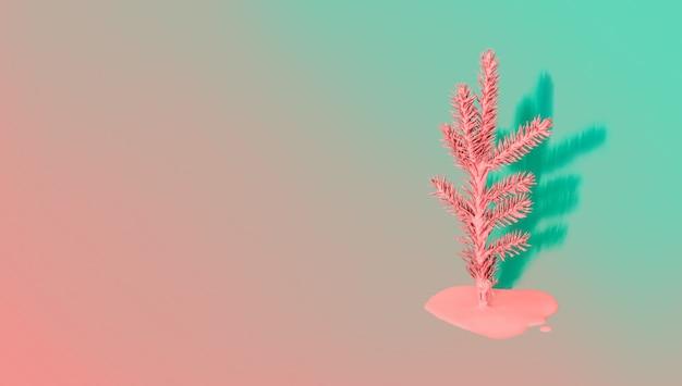 Árvore de natal pintada com tinta fluindo e sombra em fundo gradiente. conceito de férias mínimo.