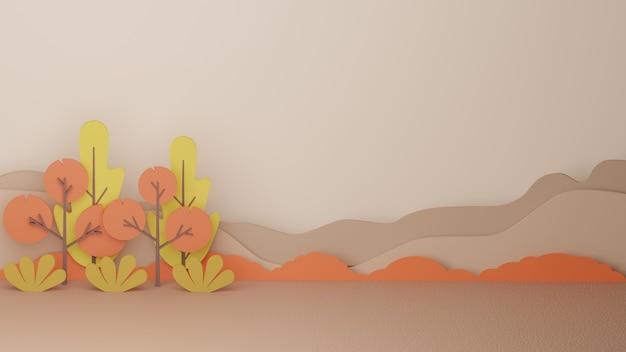 Árvore de outono 3d, fundo de temporada de outono com imagem de alta qualidade renderizada
