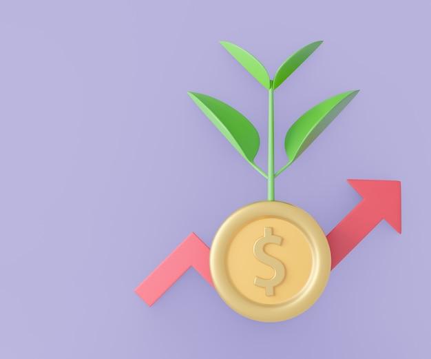 Árvore de planta 3d crescer com moeda de dólar e seta vermelha do gráfico. renderização de ilustração 3d.