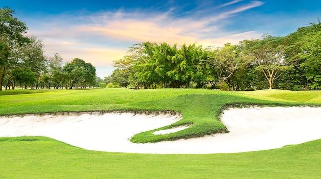 Árvore e bunker de areia em campo de golfe ao pôr do sol