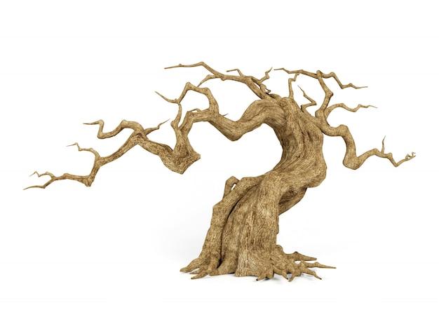 Árvore morta murcha isolado, decorativo para a cena de halloween, renderização em 3d