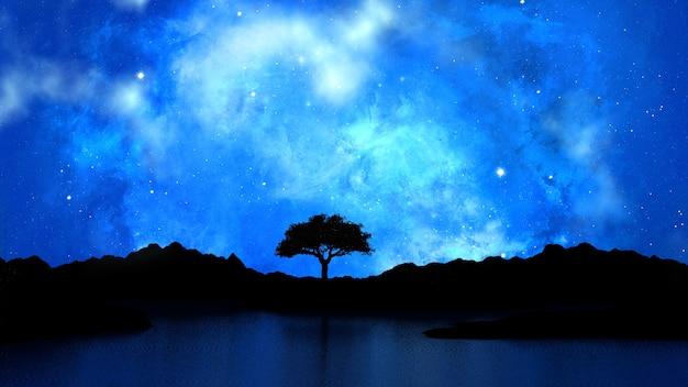 Árvore mostrada em silhueta contra um céu noturno estrelado