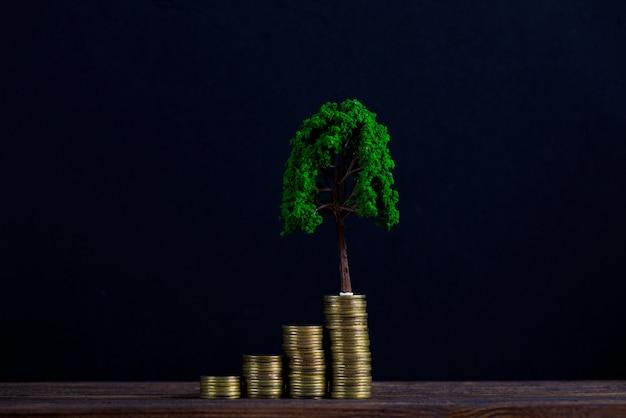 Árvore que cresce na pilha de moedas de ouro