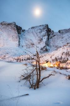 Árvore seca na neve com a aldeia brilhante e montanha