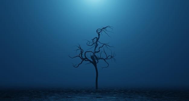 Árvore torta morta murcha no nevoeiro de fumaça azul surreal