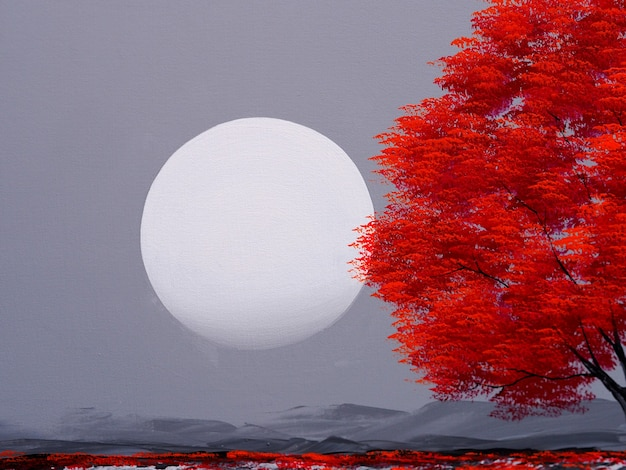Árvore vermelha com lua no céu, pintura em tela