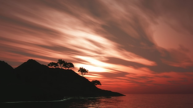 Árvores 3d na ilha contra um céu pôr do sol