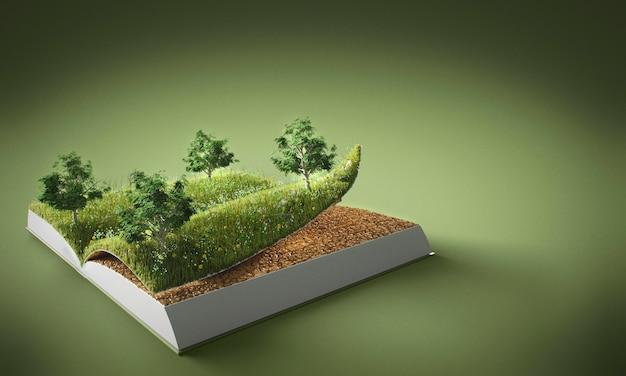 Árvores abstratas e chão no livro com espaço de cópia