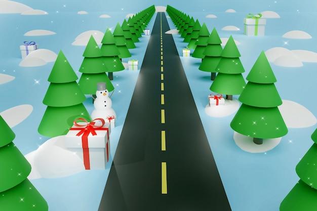Árvores de natal, boneco de neve, monte de neve e presentes de natal ao longo da estrada. fundo azul. 3d render cartão de layout criativo