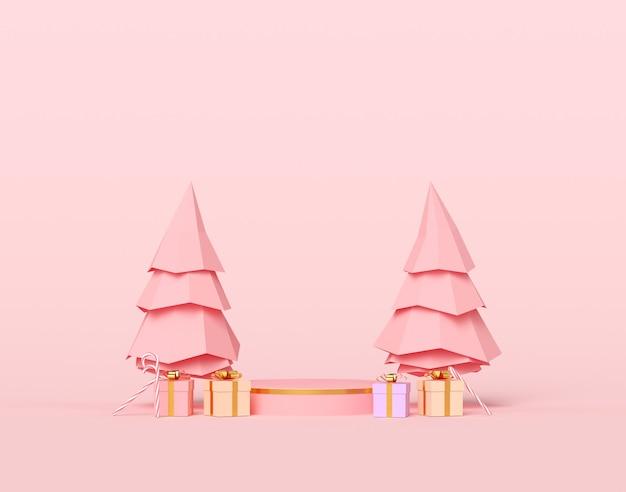 Árvores de natal com presentes e pódio de pedestal